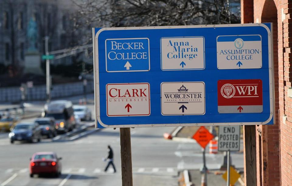 A sign pointed to some of the city's wealth of higher education institutions.